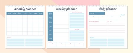 Vector set of monthly, weekly and daily planner page design template. Flat lay, mock up. Pastel colors. Office business equipment.