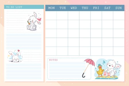 Vector set of monthly planner page design template  calendar for children with cute hand drawn little bunny character. Flat la, pastel colors. Back to school equipment. Foto de archivo - 127871546