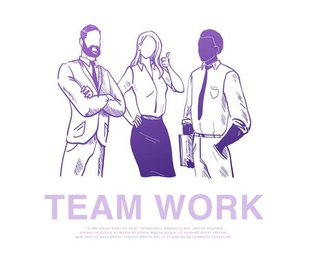 Vector illustration of business people, office workers, company stand  isolated isolated on white background. Hand drawn sketch style. Partnership, team work, consulting, support concept. Banner, app. Foto de archivo - 127871547