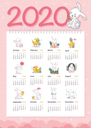 Vector baby calendar for 2020 year template with cute little white bunny and yellow funny duck characters in hand drawn style walking, laughing, sitting, playing etc. Advent calendar design. Illustration
