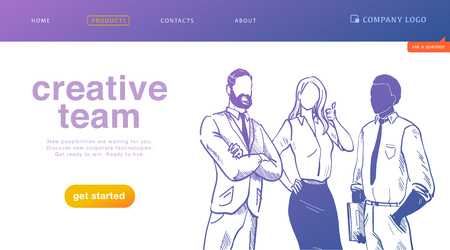 Vector landing page design concept for business creative team work, success solutions, deal and support with office people stand together on white background. Sketch style. Website, mobile app, banner Foto de archivo - 127871553