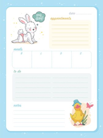 Vector daily planner page design template, calendar for children. Cute hand drawn little bunny and duck characters. To do list flat lay, pastel colors, hand drawn style. Time management equipment.
