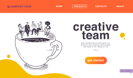 Vector landing page design concept for business creative team work, success solutions, deal & support with office people & big coffee cup on white background. Sketch style. Website, mobile app, banner Stock Illustratie