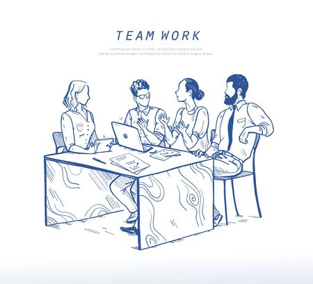 Vector illustration of office people discussing at table, teamwork, collaboration concept. Online business solutions, support. Sketch style drawing of  brainstorming, startup. Mobile app, ui, web Foto de archivo - 127871563