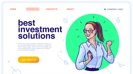 Vector landing page design template with illustration of happy business woman with smartphone. Hand drawn sketch style. Investment solution, employee, partnership, consulting, success, deal concept. Foto de archivo - 127871569