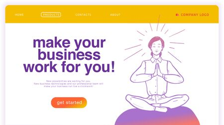 Vector landing page design template with illustration of office woman in lotus pose meditating. Business solution, online consulting, support, management concept. Sketch style. Mobile app, ui, website Foto de archivo - 127871568