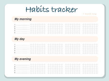 Calendrier de modèle de conception de page de suivi des habitudes vectorielles pour le mois. Équipement de gestion du temps. Mise à plat, organisateur maquette. Couleurs pastel. Organisateur mensuel avec des espaces vides pour les activités.