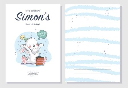 Vector baby shower design template. Cute hand drawn little baby boy bunny character. Flat lay. Pastel colors. For happy birthday and anniversary party invitations, greeting cards, tags etc.
