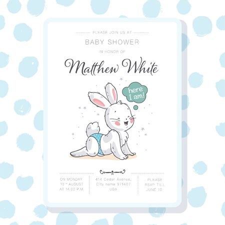 Vector baby shower design template. Cute hand drawn little bunny character. Flat lay. Pastel colors. For happy birthday and anniversary party invitations, greeting cards, tags etc. Foto de archivo - 127871577