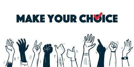 Illustrazione di voto di vettore con le mani umane in su isolato su priorità bassa bianca. Stile contorno disegnato a mano. Buono per banner, cartelloni, poster, flayer, design pubblicitario ecc.