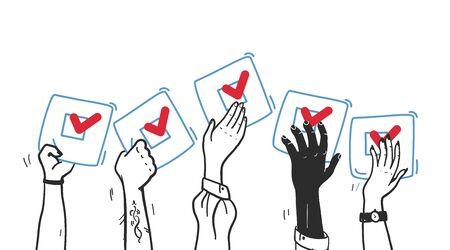 Illustrazione di voto di vettore con le mani in alto con bollettino di voto isolato su priorità bassa bianca. Stile contorno disegnato a mano. Buono per banner, cartelloni, poster, flayer, design pubblicitario ecc.