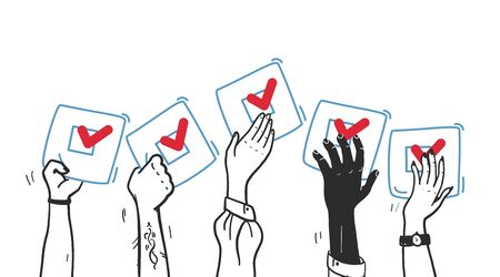 Vector vote illustration with hands up with voting bulletin isolated on white background. Hand drawn contour style. Good for banner, placard, poster, flayer, advertising design etc.  イラスト・ベクター素材