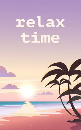 Vector flat landscape illustration of wild nature summer sunset on beach view with sky, sea coast, ocean, palm trees. For travel banners, cards, vacation and touristic advertising, brochures, flayer. Foto de archivo - 131299299