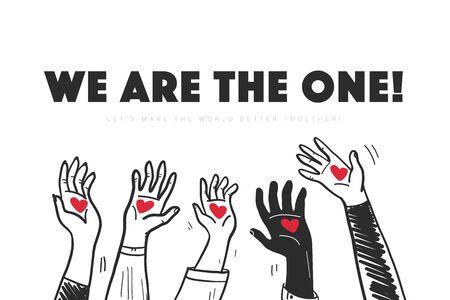 L'illustrazione di vettore con le mani in su tiene i cuori isolati su priorità bassa bianca. Stile scarabocchio disegnato a mano. Concetto di amore per la pace nel mondo. Buono per banner, cartelloni, poster, flayer, design pubblicitario ecc. Vettoriali