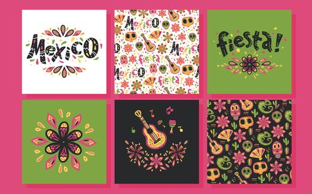 Vector collection of Mexico hand drawn style cards with traditional patterns, decor elements, fiesta lettering on different backgrounds. Good for party, advertising design. Skull, flower, guitar. Foto de archivo - 131299301