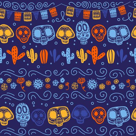 Vector seamless pattern with Mexico traditional celebration decor elements - skull, garland, flowers, cactus & abstract ornaments isolated on dark blue background. Good for packaging, prints, cards. Foto de archivo - 131299295