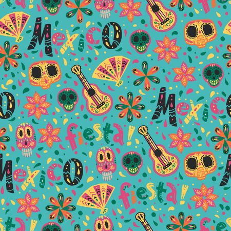 Vector seamless pattern with Mexico traditional celebration decor elements - fiesta lettering, guitar, skull, fan and floral ornaments isolated on blue background. Good for packaging, prints, textile Foto de archivo - 131299300