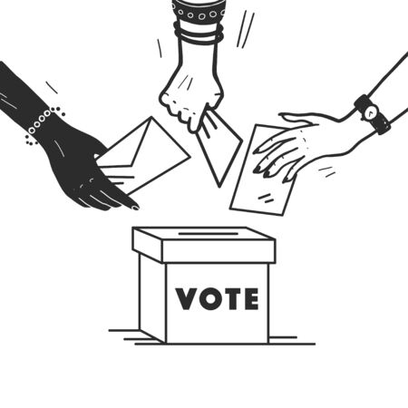 Vector vote illustration with human hands, voting bulletin and voting box isolated on white background. Hand drawn doodle style. Good for banner, placard, poster, flayer, advertising design etc. Çizim