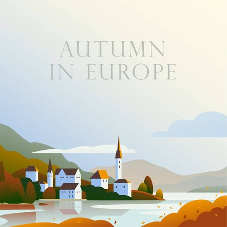 Vector flat landscape minimalistic illustration of wild autumn European cozy town, seacoast, mountain nature view, sky, water. For travel banner, card, vacation touristic advertising, brochure, flayer