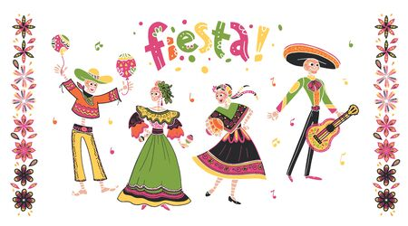 Vector set of mexico fiesta skeleton characters dancing with guitar in  flat hand drawn style isolated on white background. Icons for traditional celebration, national patterns, decoration, food.