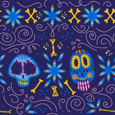 Vector seamless pattern with Mexico traditional celebration decor elements - skull, bone, flower & abstract ornaments isolated on dark blue background. Good for packaging, prints, cards, textile. Foto de archivo - 128189354