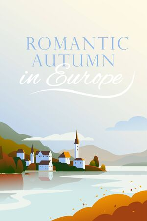 Vector flat landscape minimalistic illustration of wild autumn European cozy town, seacoast, mountain nature view, sky, water. For travel banner, card, vacation touristic advertising, brochure, flayer Foto de archivo - 131299305