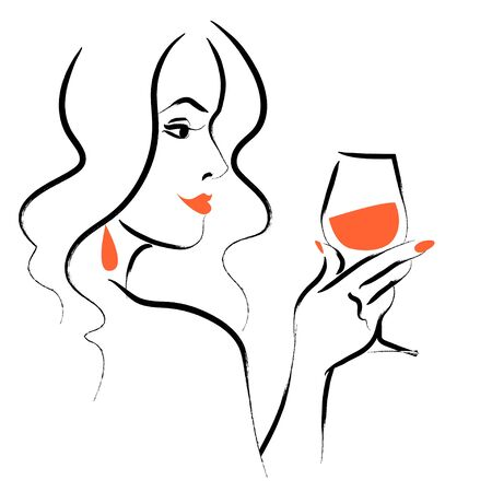 Vector hand drawn portrait of young beautiful lady  with long hair hold wine glass isolated on white background. Hand drawn sketch style. Concept for ladies night party, bar, happy cocktail hour