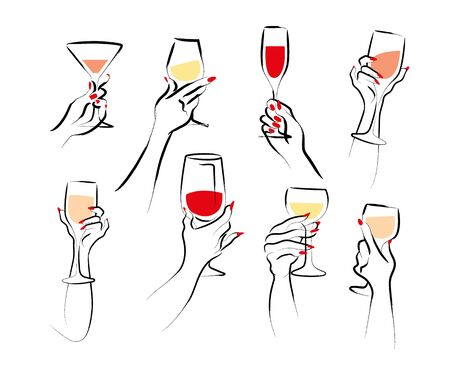 Vector hand drawn illustration of woman's hand hold wine glass isolated on white background. Hand drawn sketch minimal style. Concept for ladies night party, bar, happy cocktail hour, winery.