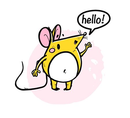 Vector illustration of cute hand drawn yellow mouse character / rat saying hello on white background. 2020 year mascot. For kid prints, cards, packaging design etc. Foto de archivo - 131299312