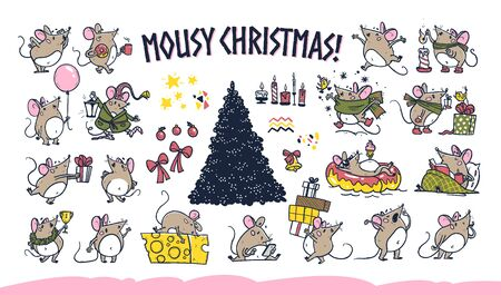 Vector Merry Christmas set of hand drawn funny happy mice characters celebrating isolated on white background. Mouse jump, rest, give present. For stickers collection, congratulation cards, prints etc