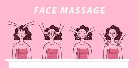 Vector and drawn illustration of face massage and skin care instruction steps  with portrait of young beautiful fashion lady isolated on pink background. For packaging, prints, salon advertisement etc Illustration