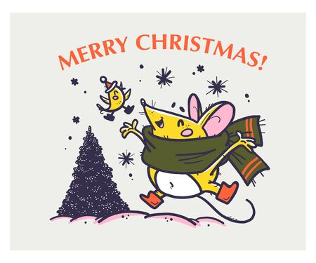 Vector Merry Christmas hand drawn funny mouse character in scarf jump happy, little bird fly and fir tree on white background. For xmas card, print, gift decor, sticker, congratulation packaging.