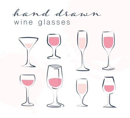 Vector set of hand drawn wine, martini and cocktail glasses illustration isolated on white background. Sketch style. For winery insignia, degustation hall emblem, wine shop badge, alcohol label. Vectores