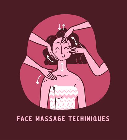 Vector hand drawn illustration of face massage and skin care instructions and techniques on portrait of young beautiful lady. For packaging, prints, salon advertisement, hand cream, face moisturizer.