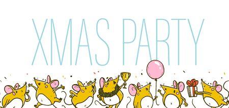 Vector Merry Christmas-illustratie. Xmas party concept met hand getrokken grappige muizen karakter vieren gelukkig op witte achtergrond. Voor kerstkaart, print, cadeaudecor, sticker, felicitatieverpakking.