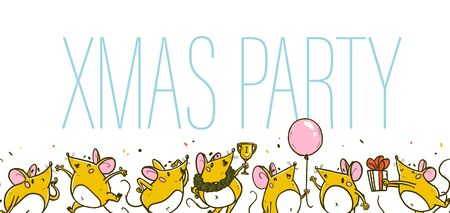 Vector Merry Christmas illustration. Xmas party concept with hand drawn funny mice character celebrating happy on white background. For xmas card, print, gift decor, sticker, congratulation packaging. Ilustracja