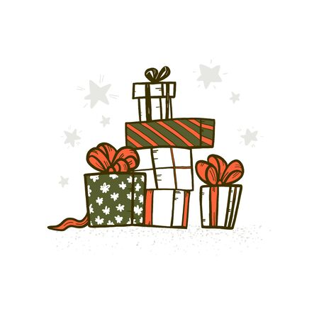 Vector Merry Christmas hand drawn illustration of xmas gift boxes pile on white background. For sale banners, xmas card, print, gift decor, sticker, congratulation decor, packaging design. Foto de archivo - 131299643