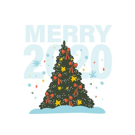 Vector illustration of hand fawn new year Christmas fir tree decorated with xmas stars, bows, confetti, snowflakes. Merry 2020 congratulation concept. For stickers, cards, gifts, packaging, prints. Иллюстрация