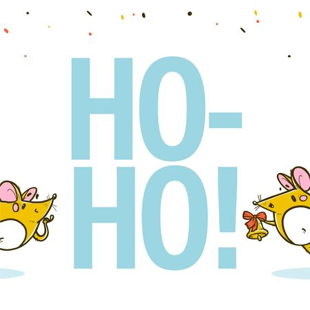 Vector Merry Christmas congratulation concept with ho-ho-ho text and hand drawn happy mice characters wave isolated. For stickers, prints, congratulation cards, present packaging, banners design.