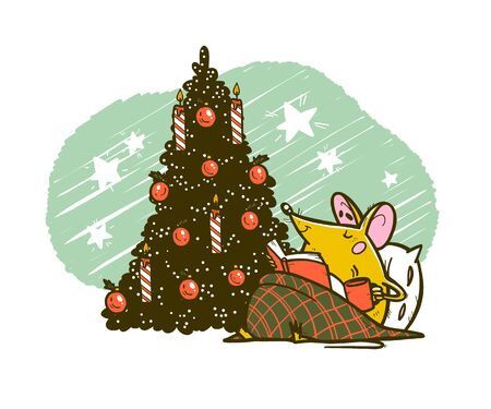 Vector Merry Christmas illustration with hand drawn cute mouse character with cover, coffee read book at decorated fir tree isolated. For sticker, print, congratulation card, present packaging, banner
