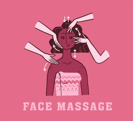 Vector hand drawn illustration of face massage and skin care instructions, techniques. Portrait of young beautiful african lady. For packaging, prints, salon advertisement, hand cream face moisturizer  イラスト・ベクター素材
