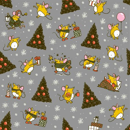 Vector Merry Christmas seamless pattern with hand drawn happy mice characters isolated. Mouse celebrate happy, jump, carry gifts. For stickers, packaging paper, congratulation cards, present tags etc. Illustration