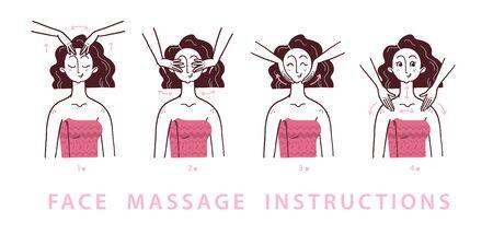 Wektor i rysowane ilustracja kroków instrukcji masażu twarzy i pielęgnacji skóry z portretem młodej pięknej damy moda na białym tle. Do pakowania, nadruków, reklamy salonowej. Ilustracje wektorowe