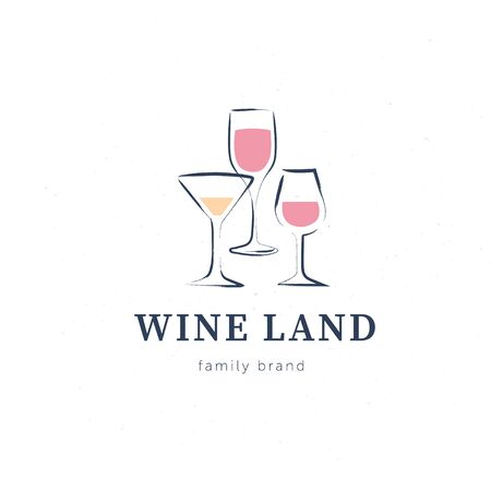 Vector wine with set of hand drawn textured wine glasses elements design isolated on white background. For winery insignia, degustation hall emblem, wine shop badge, wine label, sticker etc. Иллюстрация