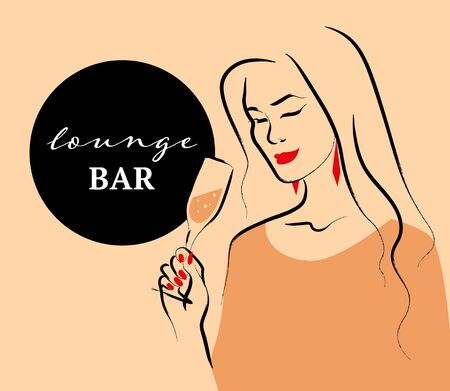 Vector lounge bar concept with hand drawn portrait of young beautiful lady hold wine glass on light background. Hand drawn sketch minimal style. Concept ladies night party, bar, happy cocktail hour. Çizim
