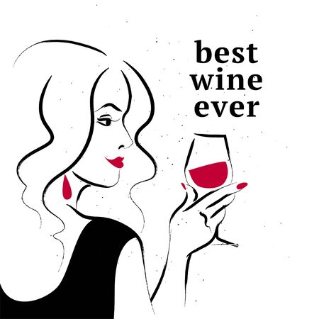 Vector illustration of hand drawn young beautiful long hair lady in black dress hold wine glass on white background. Sketch style. Concept ladies night party, bar, happy cocktail hour, restaurant