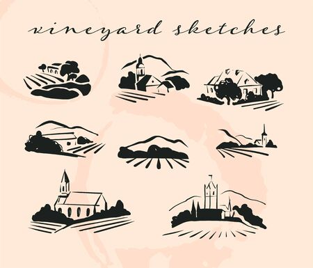 Vector village hand drawn landscape collection with fields, houses and vineyrad on white background. For vineyard brand, wine, daily products, restaurant menu design, bar etc.