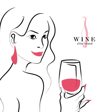 Vector hand drawn portrait of young beautiful lady hold wine glass isolated on white background. Wine template. Sketch style. Concept for restaurant, bar, happy cocktail hour, wine brand.