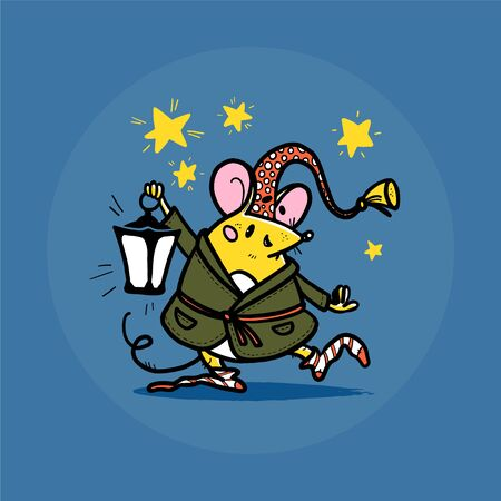 Vector illustration of cute hand drawn mouse character in sleeping cap and bassrobe holding lantern with stars on background smiling. 2020 year mascot. For kid prints, nursery design, sticker, card.