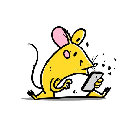 Vector illustration of cute hand drawn yellow mouse character sitting looking at smartphone online isolated on white background. For prints, stickers, banners, smart child concept.